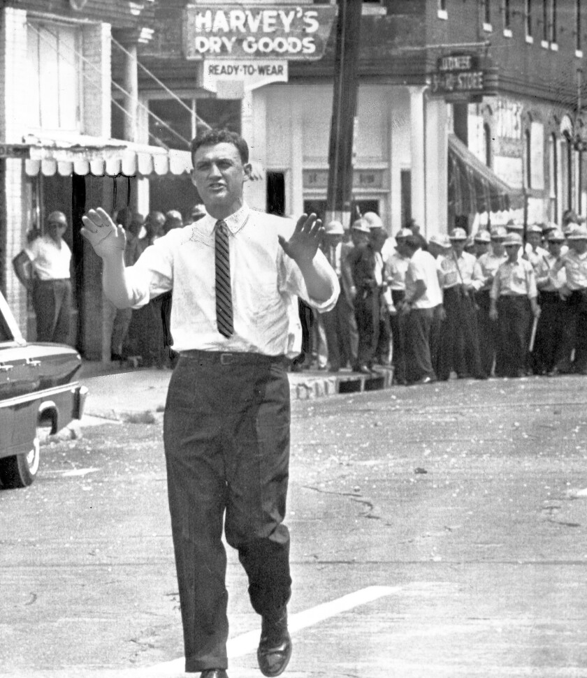 Asst. U.S. Atty. Gen. John Doar urges protesters to stop demonstrating in Jackson, Miss., after the June 15, 1963, funeral for slain civil rights leader Medgar Evers.