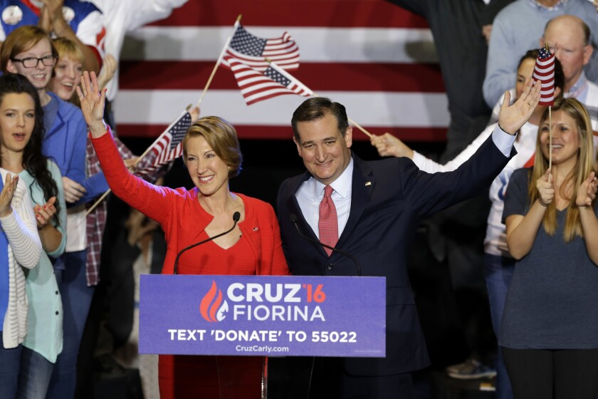 GOP presidential candidate Ted Cruz with running mate Carly Fiorina at a rally Wednesday in Indianapolis.
