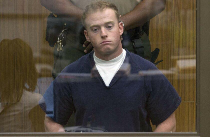 Defendant Marine Cpl. Kevin Coset in Vista court on Feb. 26.