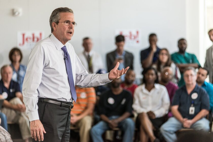 Republican presidential candidate and former Florida Gov. Jeb Bush answers questions from employees of Nephron Pharmaceutical Co. in West Columbia, S.C., on June 29, 2015.