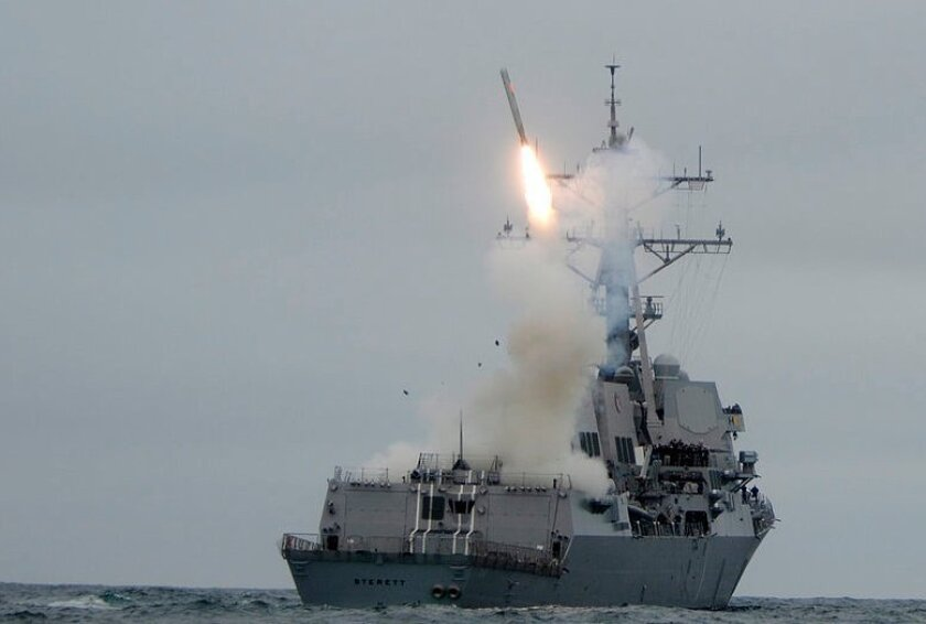 The San Diego-based destroyer Sterett test fires a Tomahawk cruise missile off Southern California.
