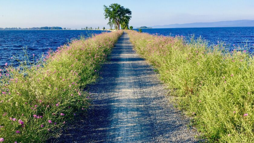 A causeway crosses Lake Champlain in Vermont.