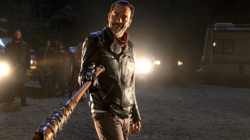 """Walking Dead"" villain Negan (Jeffrey Dean Morgan) holds ""Lucille"" close."