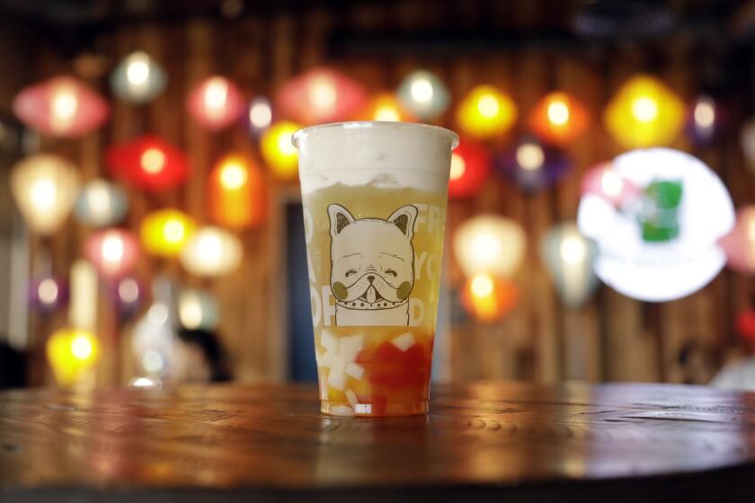 Japanese brown rice tea with milk foam from BobaPop Tea Bar