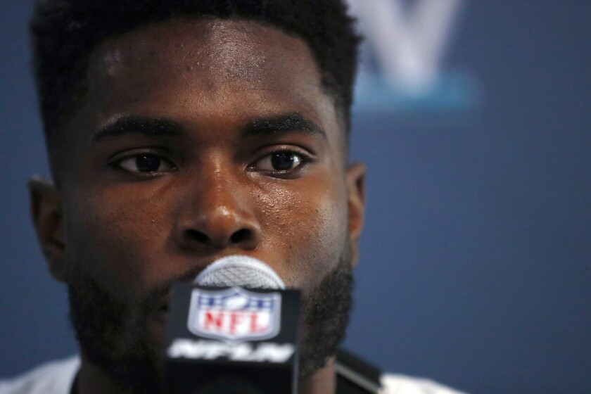 San Francisco 49ers free safety Jimmie Ward speaks during a media availability for the NFL Super Bowl 54 football game, on Tuesday, Jan. 28, 2020, in Miami. (AP Photo/Wilfredo Lee)