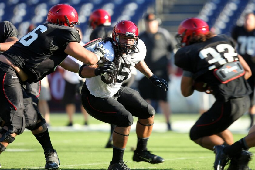 San Diego State 55 Micah Seau, closes in on De'saan Hardwick, during their final scrimmage before the first game of the season August 31 against Eastern Illinois.