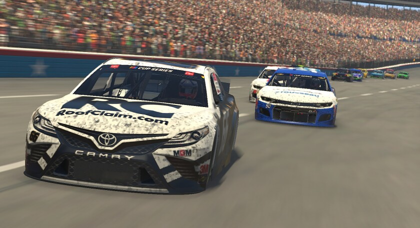 Timmy Hill, driver of the Roofclaim.com Toyota, won the eNASCAR event at virtual Texas Motor Speedway on March 29, 2020.