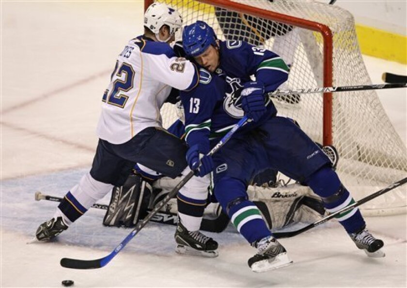 Vancouver Canucks' Mats Sundin, right, of Sweden, is checked by St. Louis Blues' Brad Boyes as he plays the puck in front of goalie Manny Legace during second period of an NHL hockey game in Vancouver on Friday, Jan. 9, 2009.  (AP Photo/The Canadian Press, Darryl Dyck)