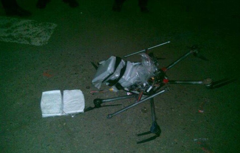 A drone packed with more than six pounds of meth crashed in Mexico near the California border Tuesday night.