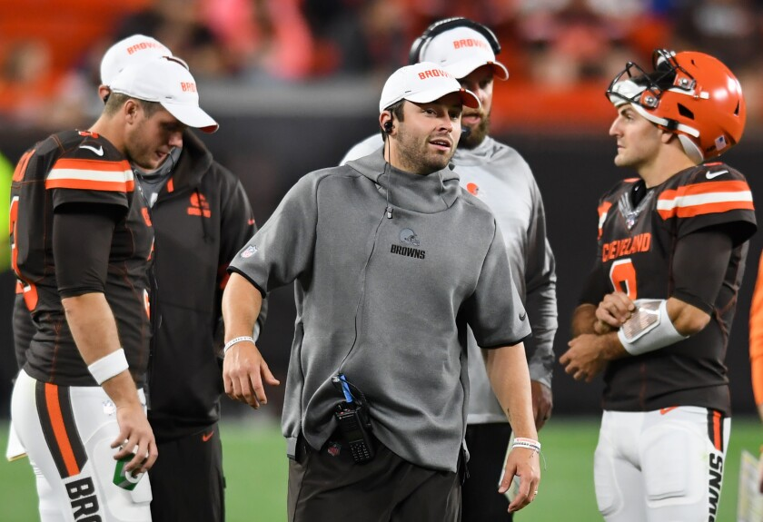 Browns quarterback Baker Mayfield stands on the sideline during a preseason game against the Detroit Lions on Aug. 29.
