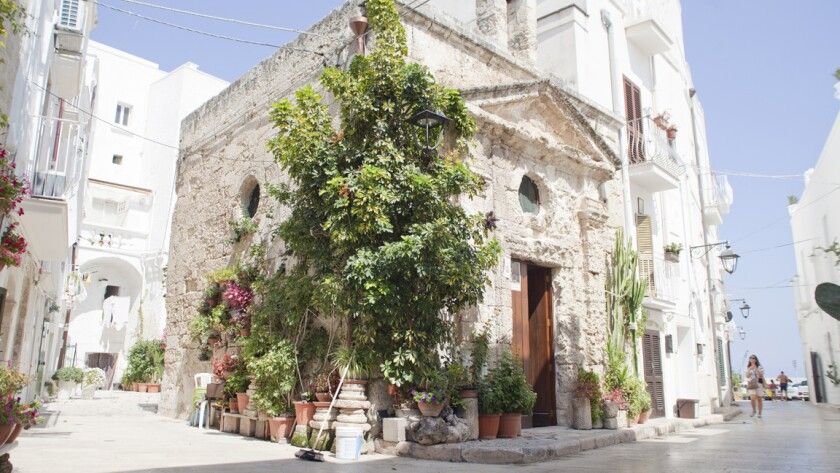 Artists begin their trip by exploring the white-washed buildings and cobbled streets of Monopoli, in southern Italy.