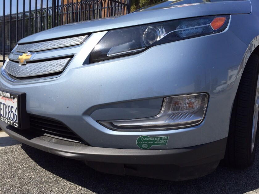 California is about to hit its cap for issuing green carpool lane permits for plug-in hybrids such as this Chevrolet Volt.