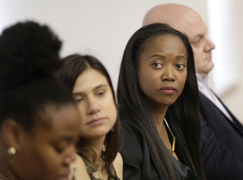 In this Feb. 20, 2018, photo, Erika Alexander attends a discussion about subminimum wage workers that depend on tips for their living in New York. Alexander was there to support the idea of one fair wage for all workers.
