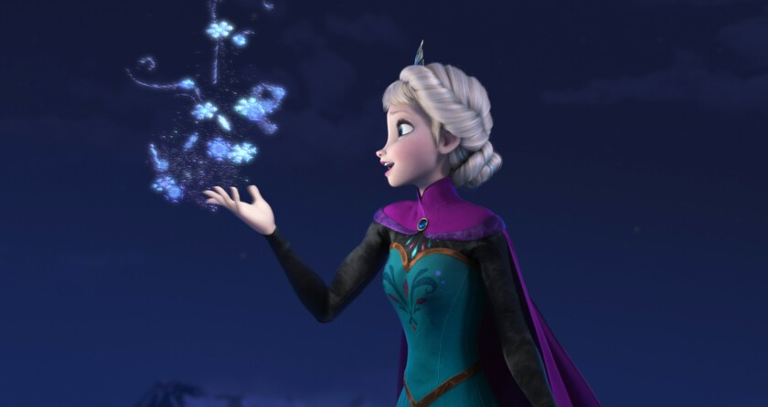 """Elsa the Snow Queen, voiced by Idina Menzel, in the movie """"Frozen."""" """"Frozen"""" won the 2014 Oscar for animated feature."""
