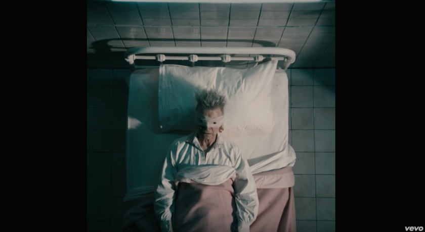 """David Bowie, in a screen shot from his new video for the song """"Lazarus."""""""