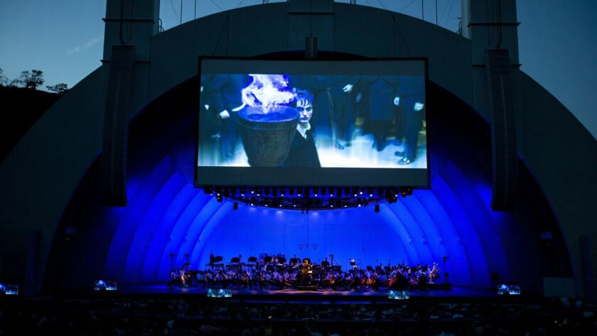 """Justin Freer conducts the L.A. Phil in a performance of music from the motion picture """"Harry Potter and the Goblet of Fire"""" at the Hollywood Bowl."""