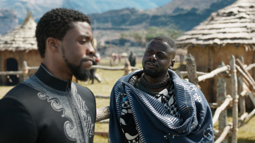 Marvel Studios' BLACK PANTHER L to R: T'Challs/Black Panther (Chadwick Boseman) and W'Kabi (Daniel