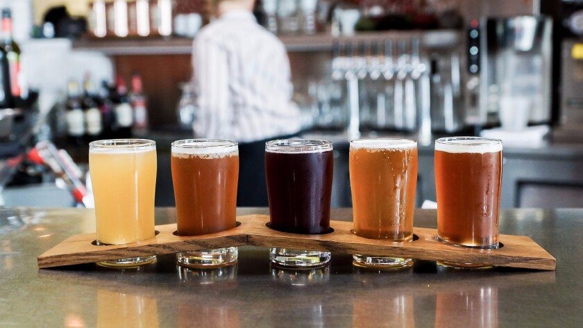 A flight of beer from Maximiliano in Highland Park.