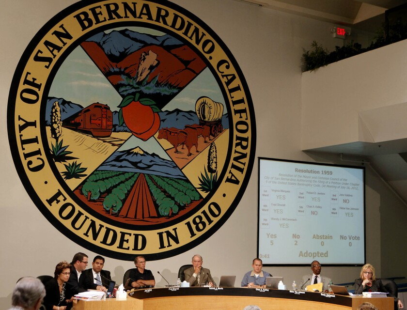 San Bernardino City Council members in July 2012 as they voted to declare their city bankrupt.