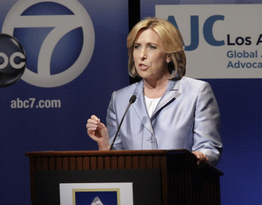 Los Angeles mayoral candidate Wendy Greuel at a debate in April sponsored by the American Jewish University.