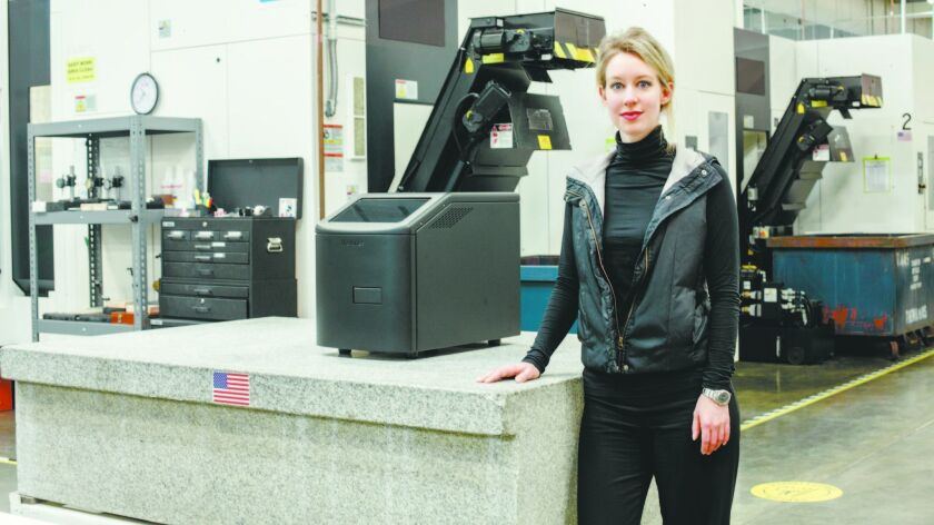 Elizabeth Holmes, the founder of the medical start-up Theranos, at the company's lab in Newark, Calif.