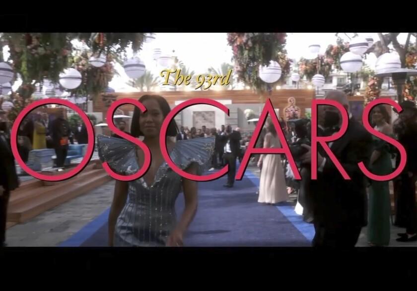 En esta imagen proporcionada por ABC, Regina King llega a la 93a entrega de los Premios de la Academia
