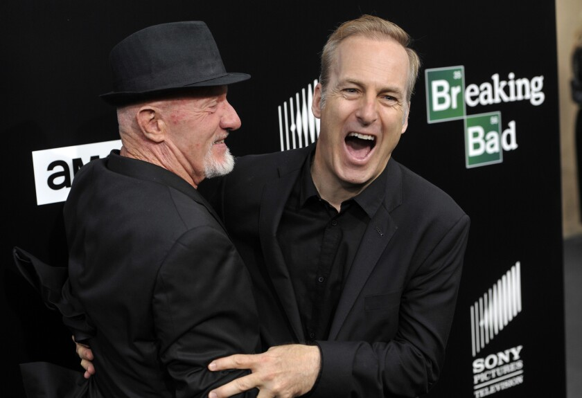 "Bob Odenkirk, right, with fellow ""Breaking Bad"" cast member Johnathan Banks, will star in the one-hour series ""Better Call Saul."""