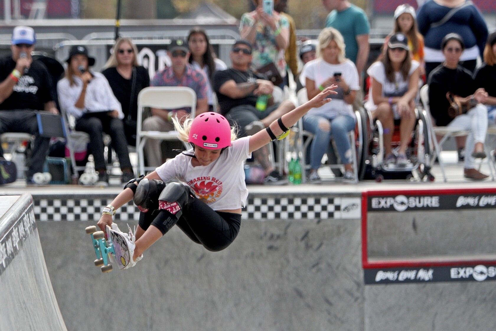 Female skateboarders answer the roll call at Huntington Beach competition