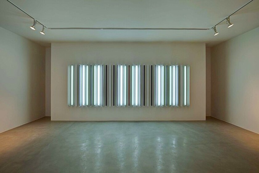 "One of Robert Irwin's light pieces in his exhibition ""Works in Progress"" at Quint Contemporary Art in La Jolla. ""Whenever you look at light, basically it's just air,"" he says."