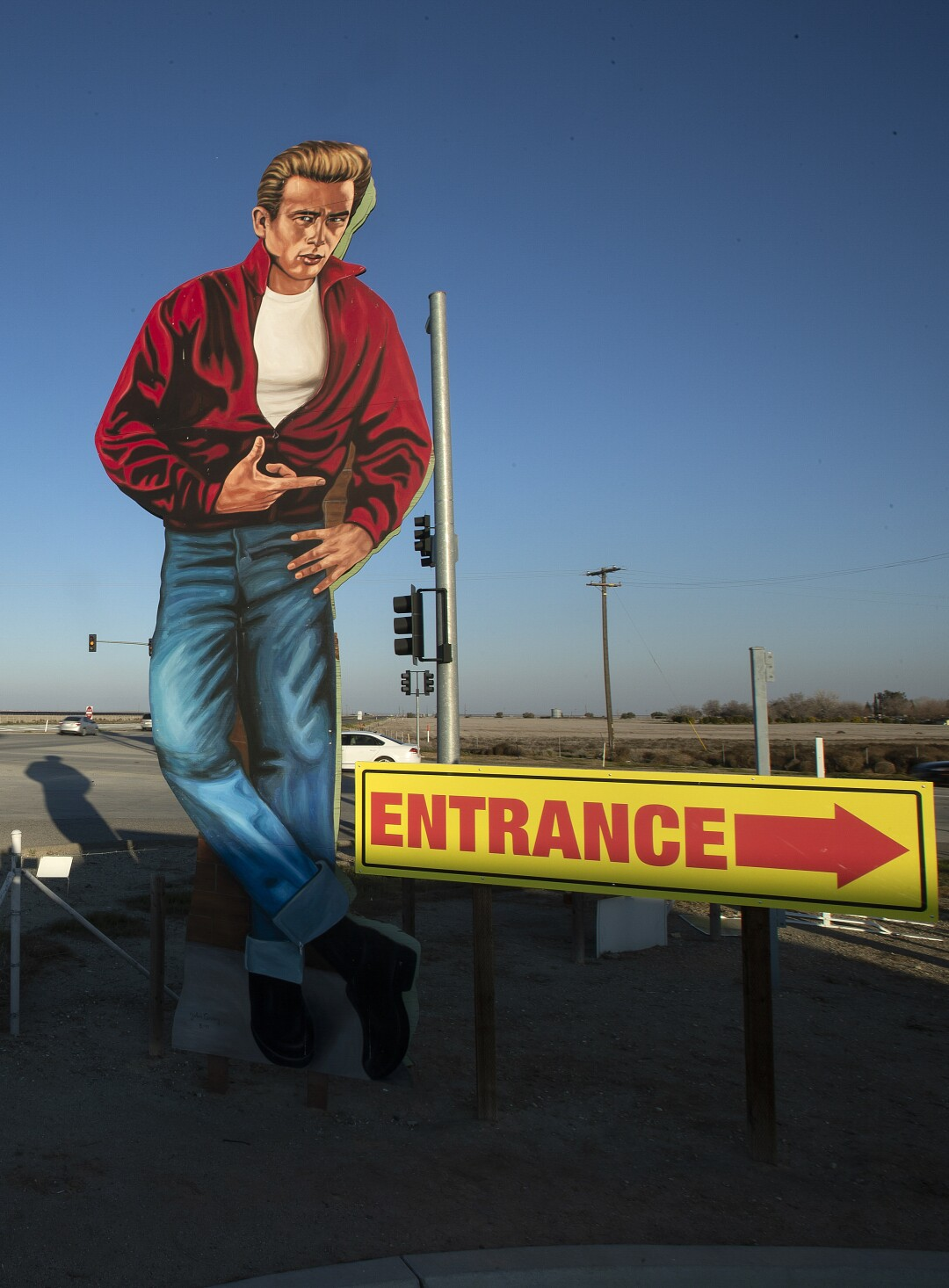 A cutout of actor James Dean at Blackwells Corner