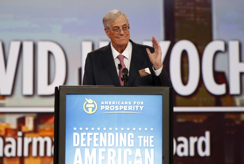 Column: David Koch's real legacy is the dark money network of rich right-wingers