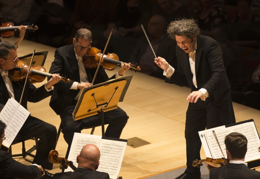 Gustavo Dudamel, leading Mahler's Ninth, in what critic Mark Swed calls the conductor's most impressive performance yet with the L.A. Phil.