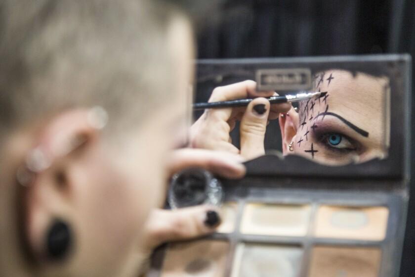 LOS ANGELES, CA. - May 11, 2018: Danny Blu applies make-up before RuPaul's DragCon LA at the Los An