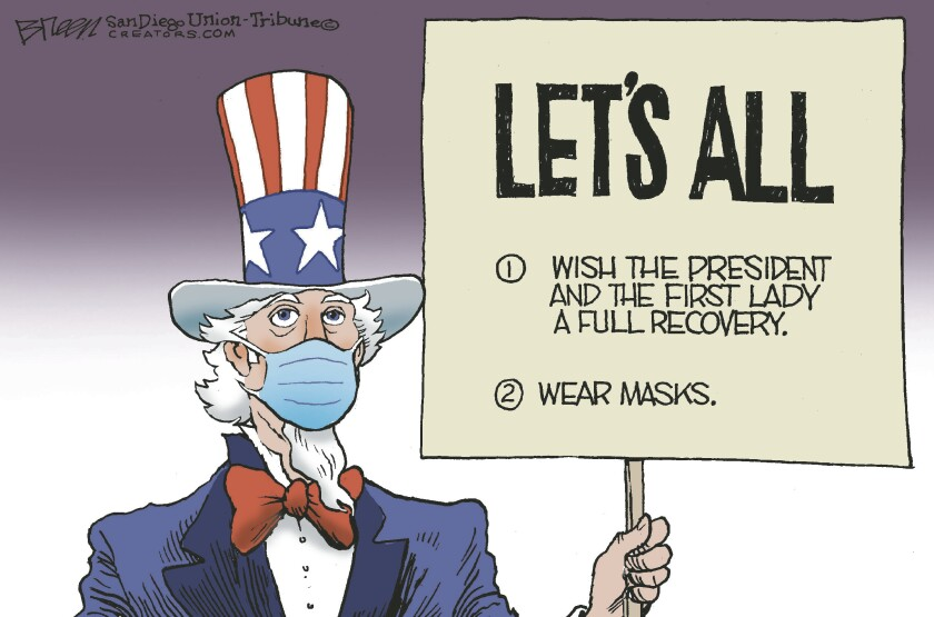 """Uncle Sam, in a mask, holds a sign reading """"Let's all wish the President and First Lady a full recovery and wear masks."""""""