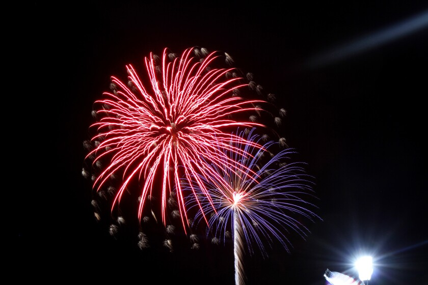 The 2014 fireworks show lights up the sky at the harbor in Atlantic Highlands, N.J., Friday, July 4, 2014. The National Safety Council says Independence Day is the most dangerous holiday.