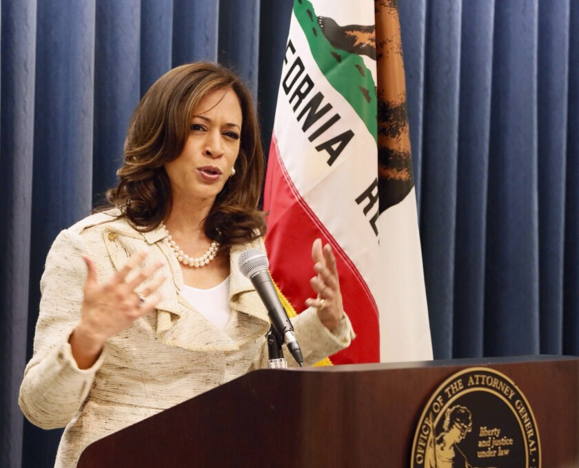 California Atty. Gen. Kamala D. Harris, dismissed speculation Thursday that she might succeed Eric Holder as the U.S. attorney general.