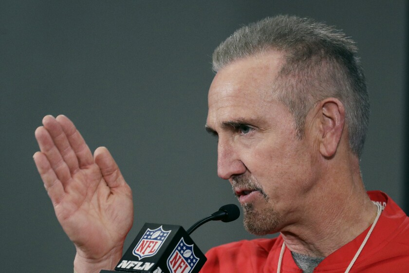FILE - Kansas City Chiefs defensive coordinator Steve Spagnuolo addresses the media during a news conference at Arrowhead Stadium in Kansas City, Mo., in this Thursday, Jan. 16, 2020, file photo. All four defensive coordinators who will be trying to shut down high-powered offenses in the NFL playoffs this weekend have been head coaches before, providing valuable experience in the conference championships. (AP Photo/Charlie Riedel, File)