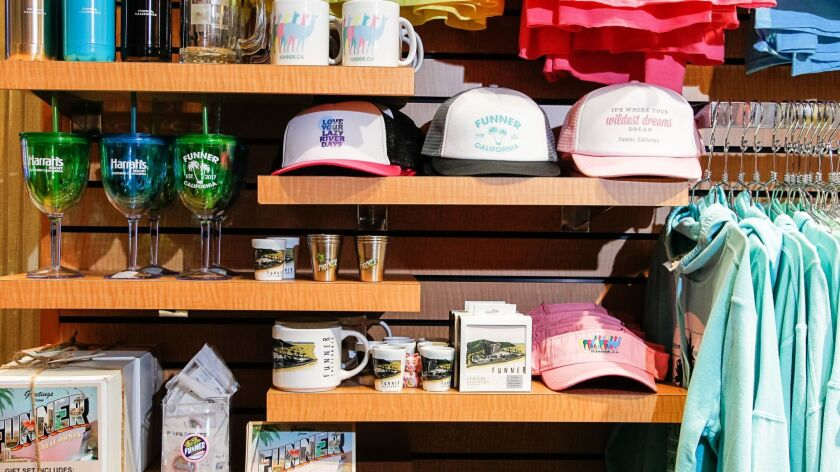 """FUN IT UP: The Emporium gift shop at Harrah's Resort Southern California doubles down on the casino's """"Funner"""" branding campaign with So-Cal pastel-hued sweatshirts, T-shirts, glasses, towels, coasters, keychains and more, from $3.95 to $23.95."""
