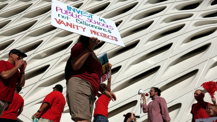 The United Teachers Los Angeles union staged a protest on the opening day of The Broad, Los Angeles' new contemporary art museum on Sept. 20, 2015. They were protesting Broad's strong support for charter schools.