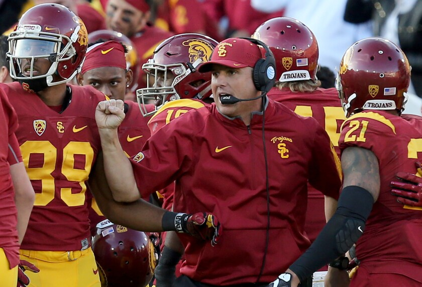 Coach Clay Helton and the Trojans will take on six teams in AP's preseason top 25 rankings.
