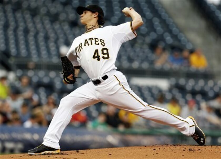 Pittsburgh Pirates starting pitcher Jeff Locke (49) throws against the Atlanta Braves in the first inning of the baseball game on Thursday, April 18, 2013, in Pittsburgh. (AP Photo/Keith Srakocic)