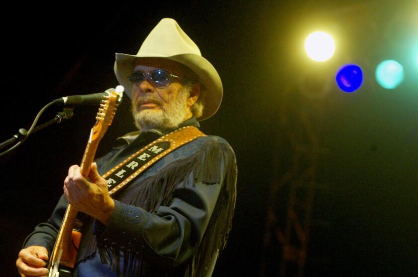 Merle Haggard performs in San Bernardino on July 8, 2003.