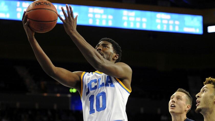 UCLA guard Isaac Hamilton goes for a layup against San Diego during a game Nov. 17.