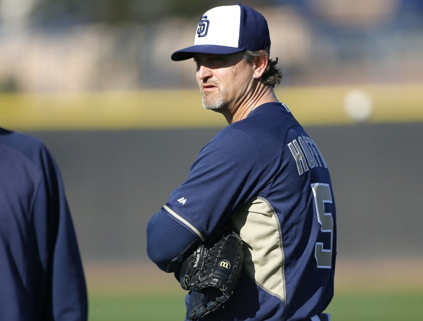 Trevor Hoffman watches pitchers as the third day of spring training began for the Padres pitchers and catchers.