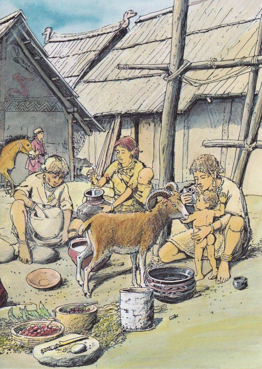 A prehistoric family scene