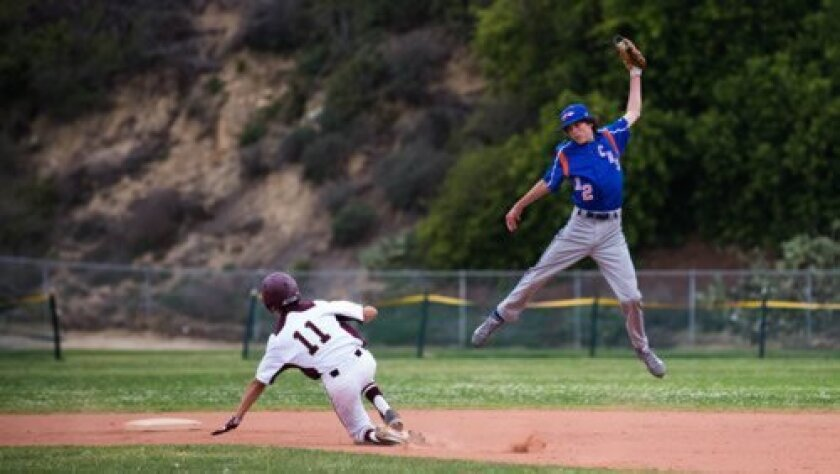 Bishop's Reed Meyer (11) steals second as Clairemont's Zack Thorold leaps to grab the errant throw in the top of the first inning. Ed Piper