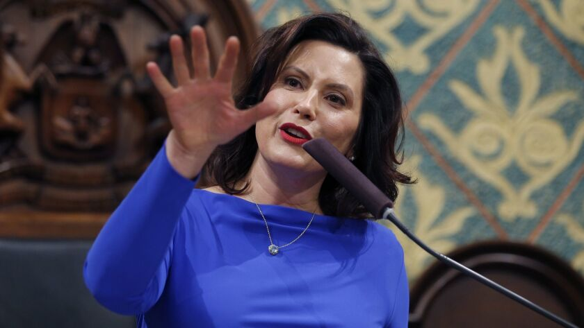 Michigan Gov. Gretchen Whitmer delivers her State of the State address Feb. 19 in Lansing.
