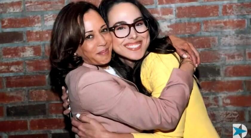 Kamala Harris hugging niece Meena Harris.