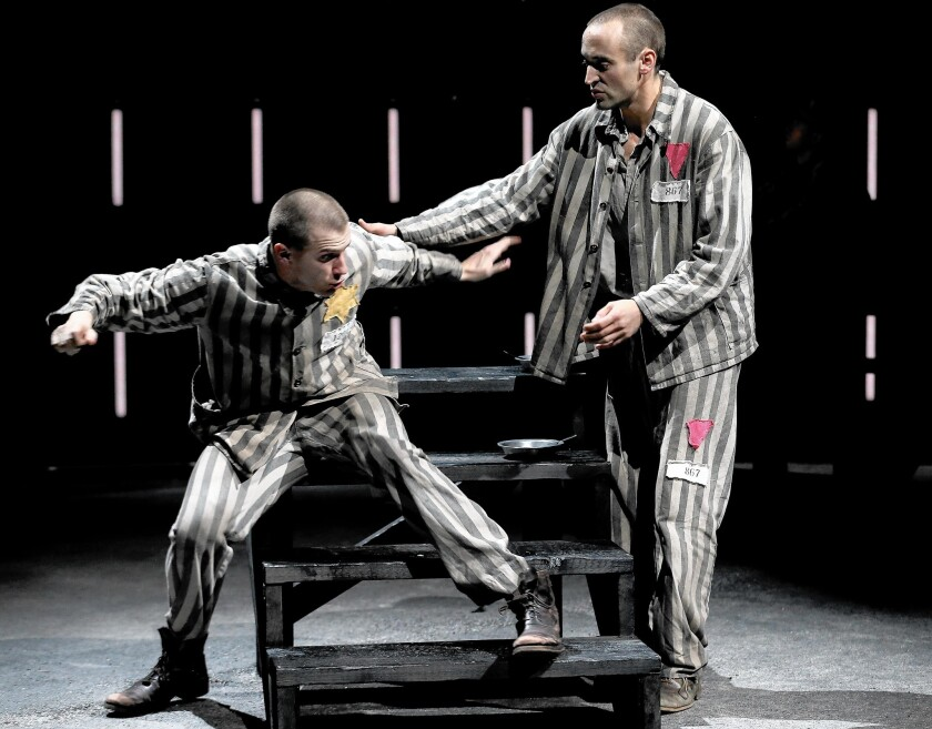 """Martin Sherman's gay Holocaust drama """"Bent"""" dramatizes the horror of a human classification system in which certain groups are deemed subhuman, unworthy even of life. Patrick Heusinger, left, and Charlie Hofheimer perform in the Mark Taper Forum production."""
