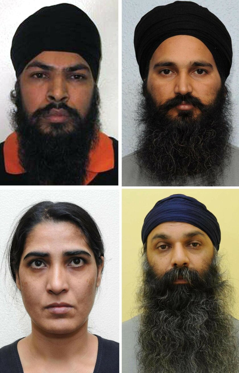 """This undated handout photo, issued on Tuesday, Dec. 10, 2013, by the Metropolitan Police shows (clockwise from top left) Mandeep Singh Sandhu, 34, Dilbag Singh, 37, Barjinder Singh Sangha, 33 and Harjit Kaur, 39, a Sikh gang who were jailed on Tuesday for slashing a retired Indian general's throat in what prosecutors called """"a highly premeditated assault"""". Prosecutors said the attack on Lt. Gen. Kuldeep Singh Brar was revenge for his role in the 1984 assault on Amritsar's Golden Temple, in which more than 1,000 people were killed. Brar survived the stabbing attack. (AP Photo/Metropolitan Police)"""